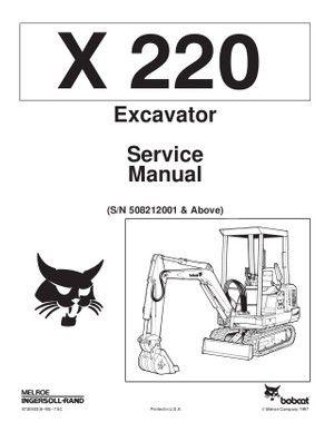 Bobcat 220 Excavator Service Repair Manual PDF S/N 5082