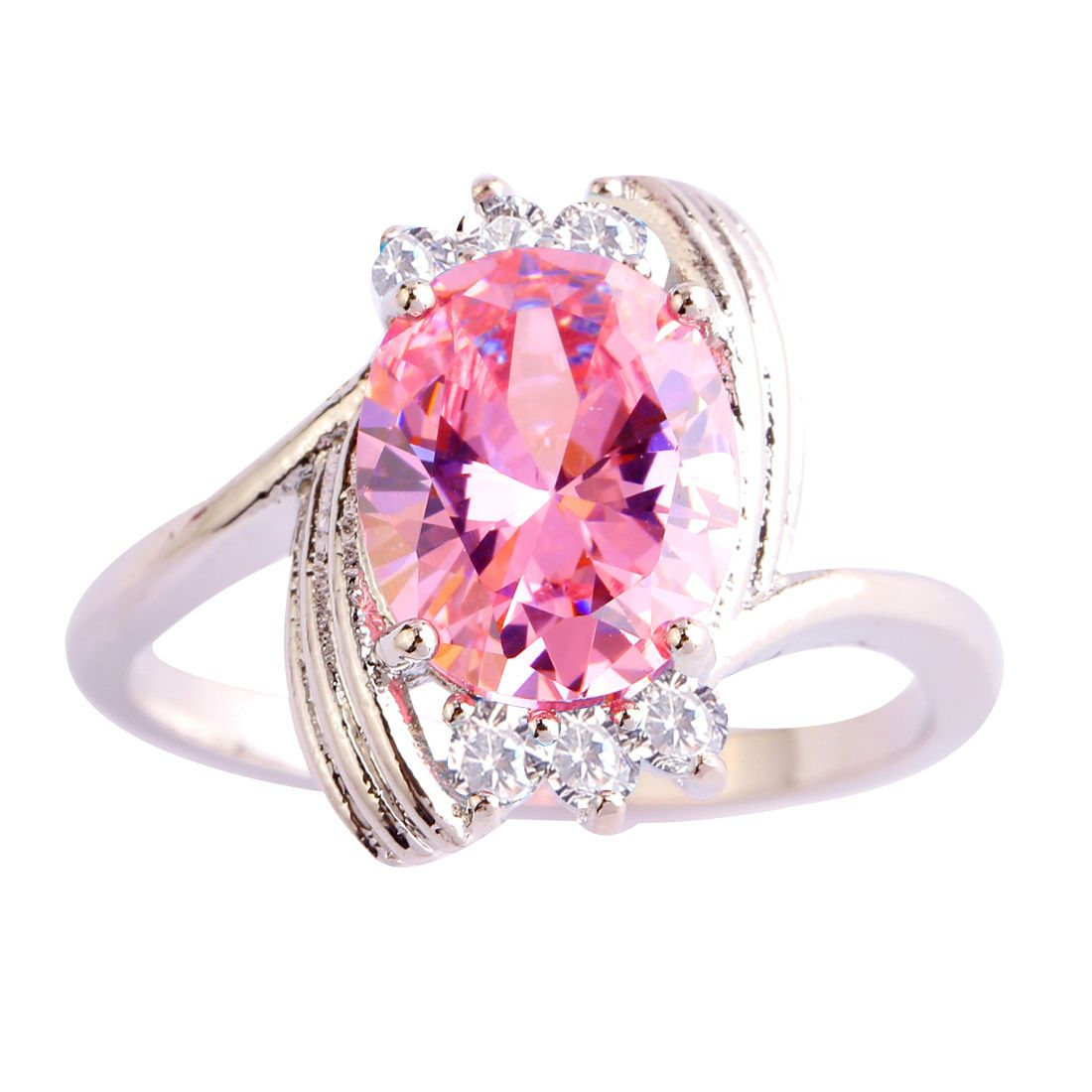 Lovely Women Wedding Pink & White Topaz Gemstone Silver Ring Sz 6 7 ...