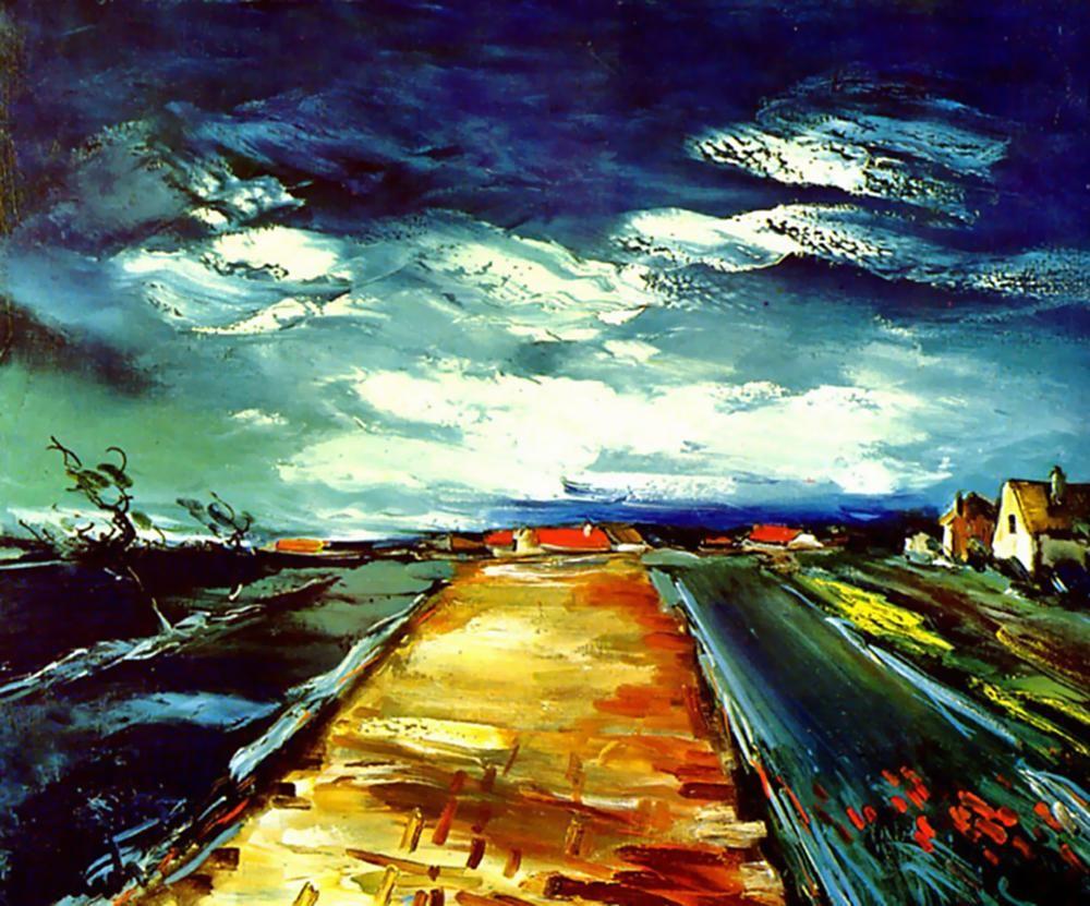 La Route de Brique Jaune -- Maurice de Vlaminck. Maurice de Vlaminck (4  April 1876 – 11 October 1958) was a French… | Fauvisme, Paysage lugubre,  Maurice de vlaminck