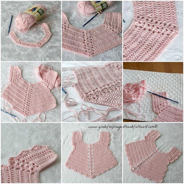 Crochet Baby Bib from Vintage Pattern | Chalecos de niña, Bebe y ...