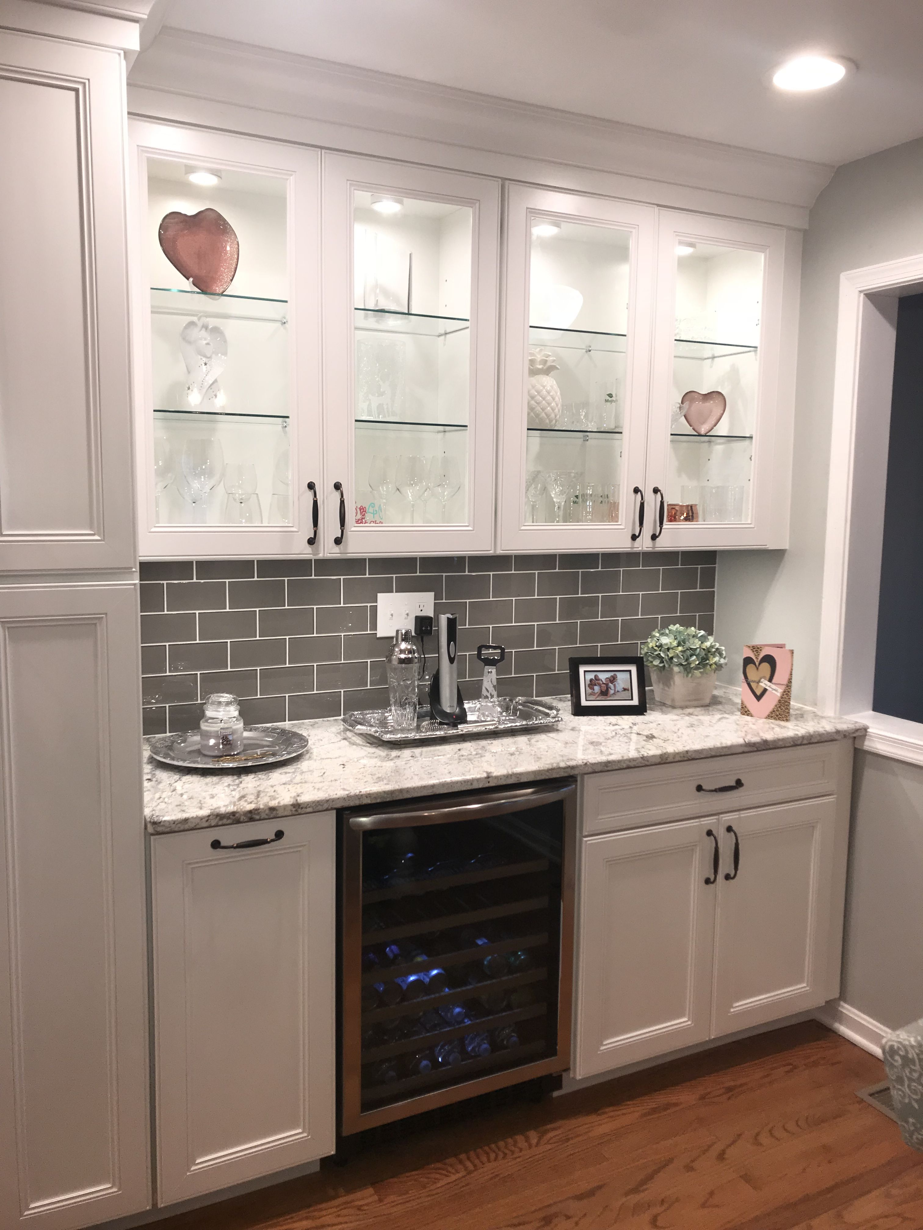 aspen grey birch kitchen cabinets instock | White Cabinets with Taupe Glass backsplash and Aspen White ...