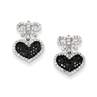 1 2 Carat Black White Diamond Heart Bow Earrings In Sterling Silver Available Exclusively At