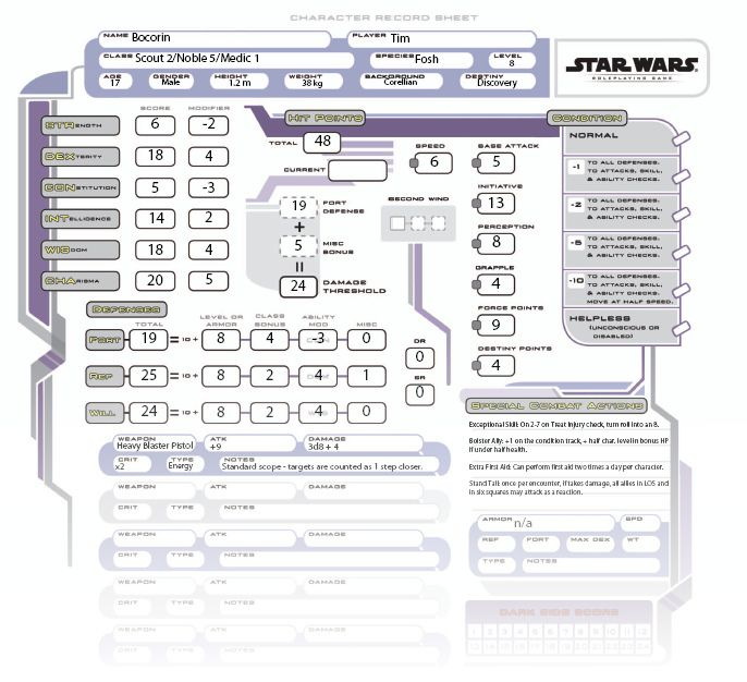 star wars saga character sheet Pin by Kevin Fredde on Games | Pinterest | Character sheet, RPG and ...