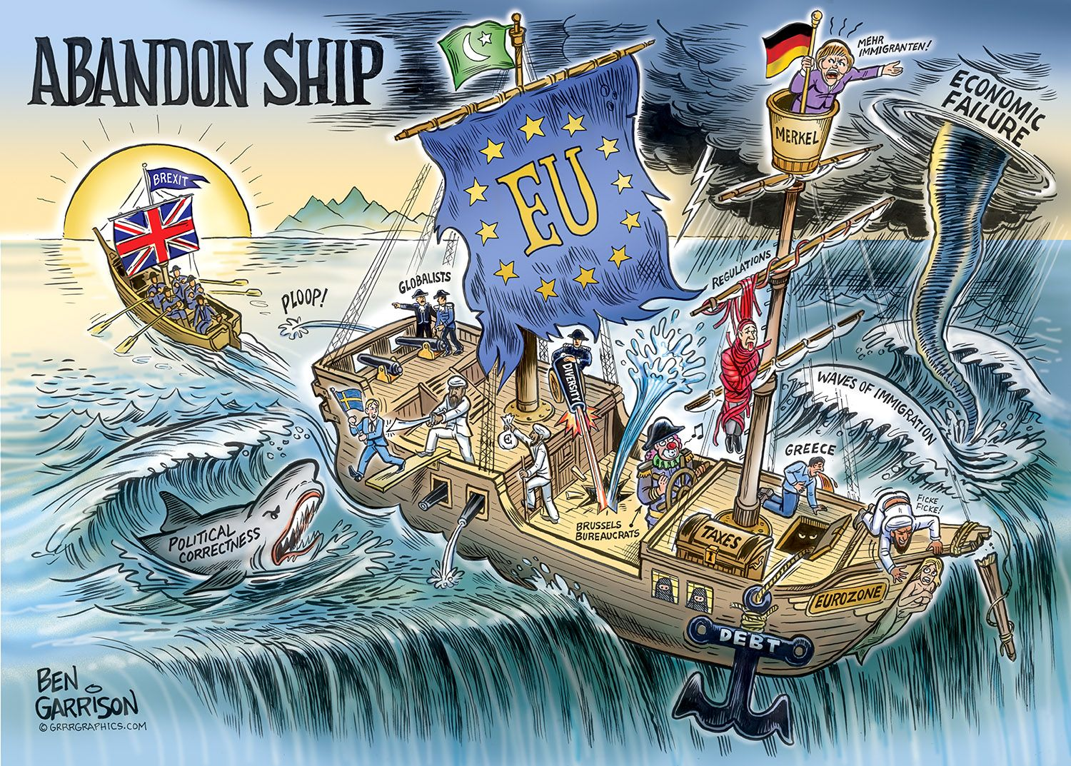 Abandon Ship Brexit Great Britain S Escape Ben Garrison Cartoon