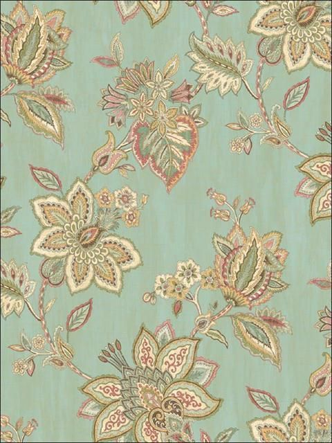 Wallpaper Cream Gold Pink Pink Red Jacobean Paisley Floral Vine On