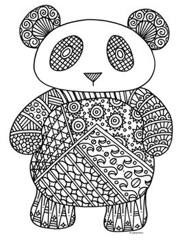 Black White Detailed Panda Coloring Sheet