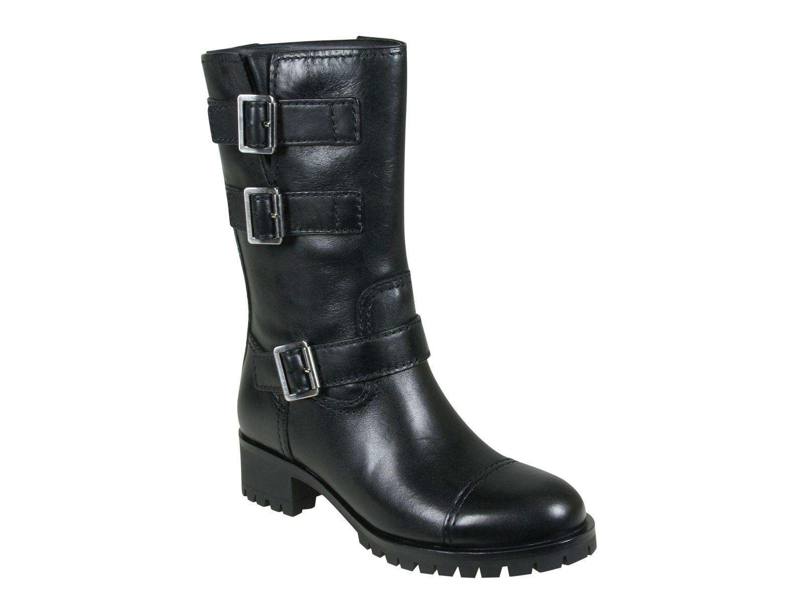 Prada women's biker boots in black Calf leather - Italian Boutique €487