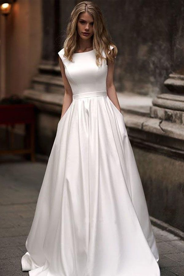 Vintage A-line Princess Ivory Satin Long Wedding Dresses with Pockets WD328