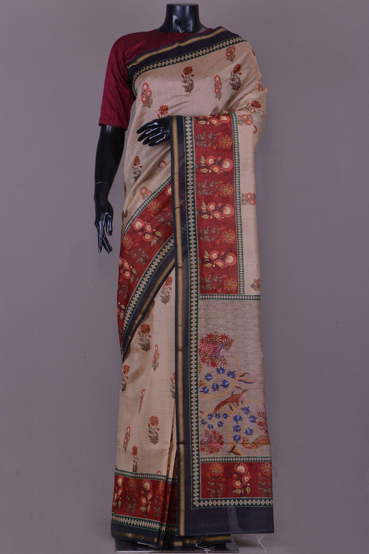 Off white tussar silk saree light brown printed tussar silk sareekc  sharees  pinterest