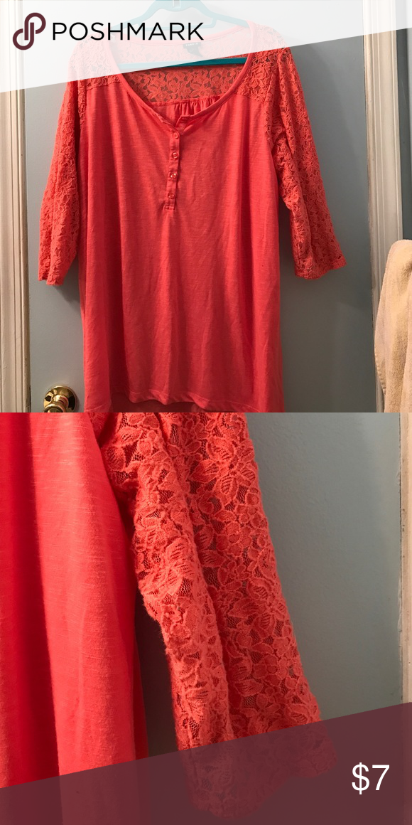 Torrid Coral Shirt Torrid Coral Lace shirt. Lace sleeves and open detail on the back as well. GUC. torrid Tops Tees - Long Sleeve