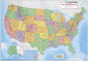USA Political Wall Map US STATE MAPS Pinterest Wall Maps - Map of us political