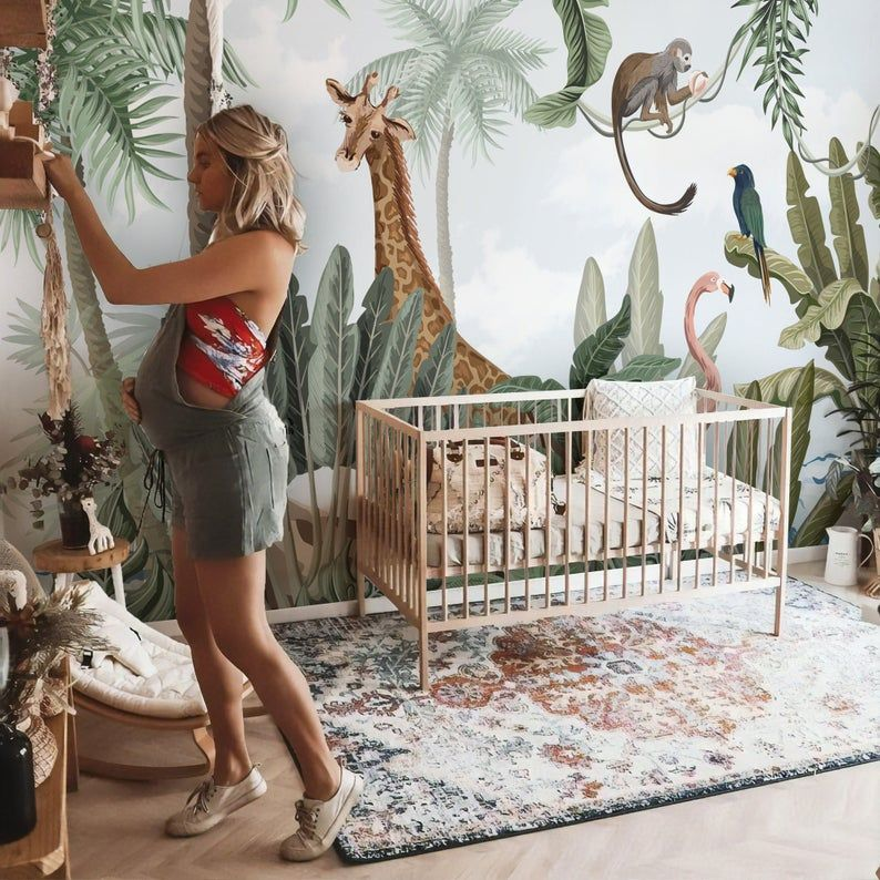 Jungle Mural Repositionable Removable Wallpaper Peel Stick Etsy Jungle Wallpaper Jungle Mural Kids Room Wall Decor