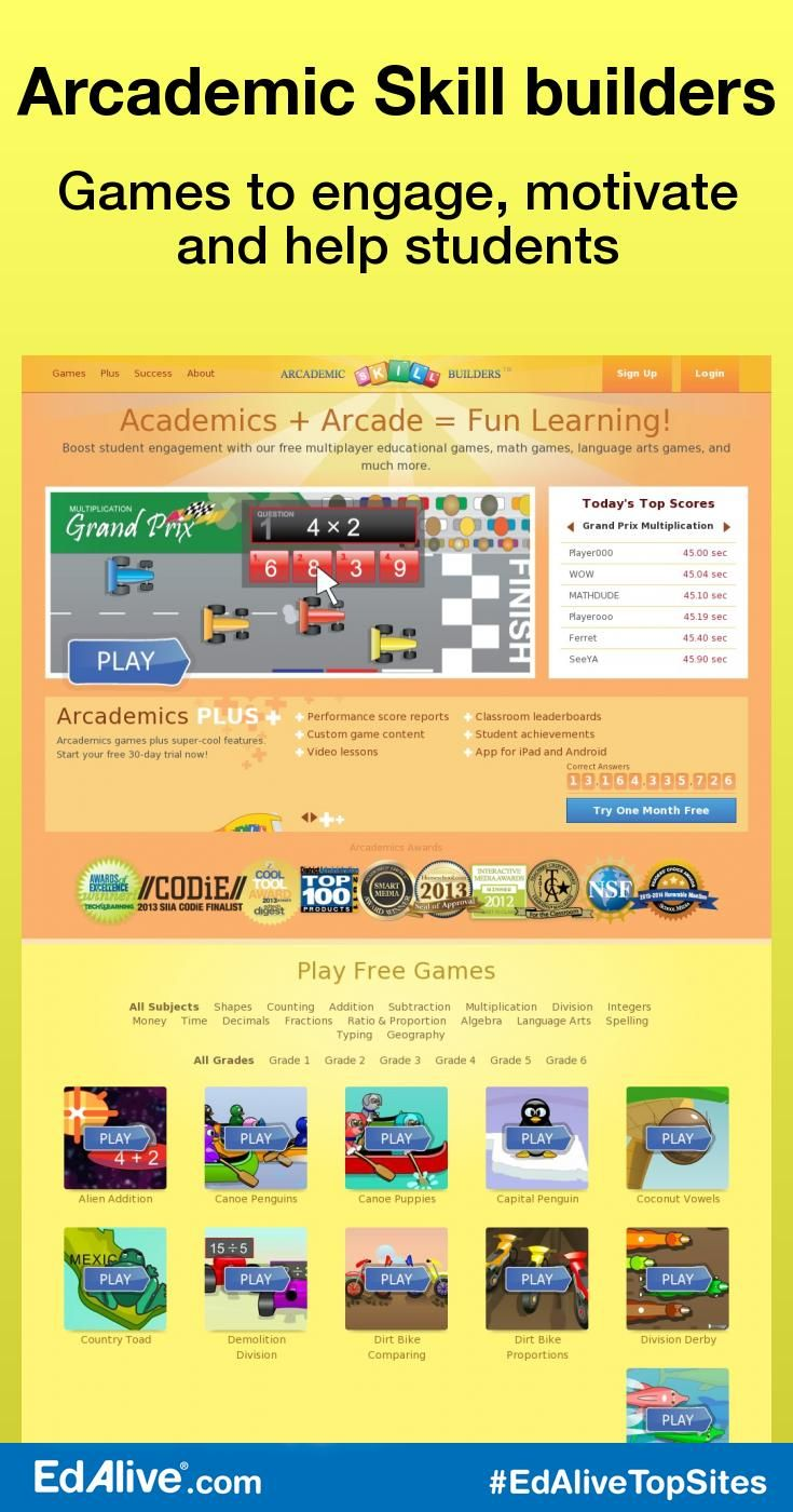 Arcademic Skill builders | Language arts games, Help teaching and Math
