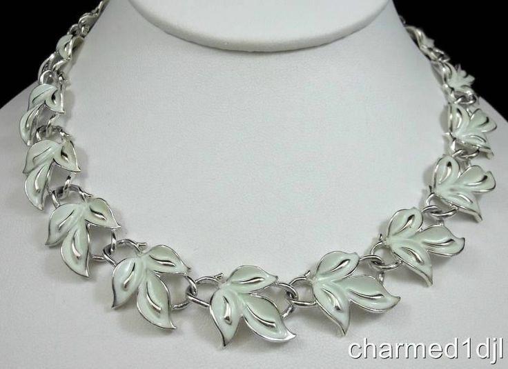 Leaf Earrings Vintage Jewelry Enamel Earrings Enamel Necklace Leaf Necklace