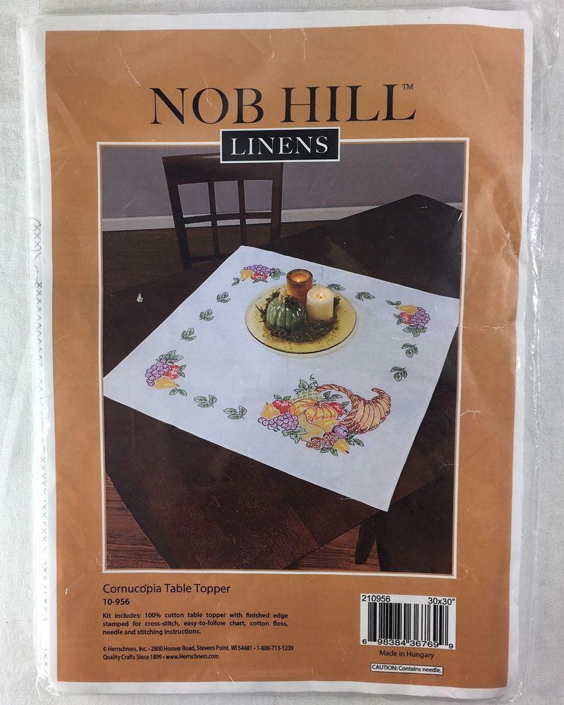 Nob hill cornucopia thanksgiving table topper stamped cross stitch explore seja grato toppers de mesa e muito mais junglespirit Choice Image