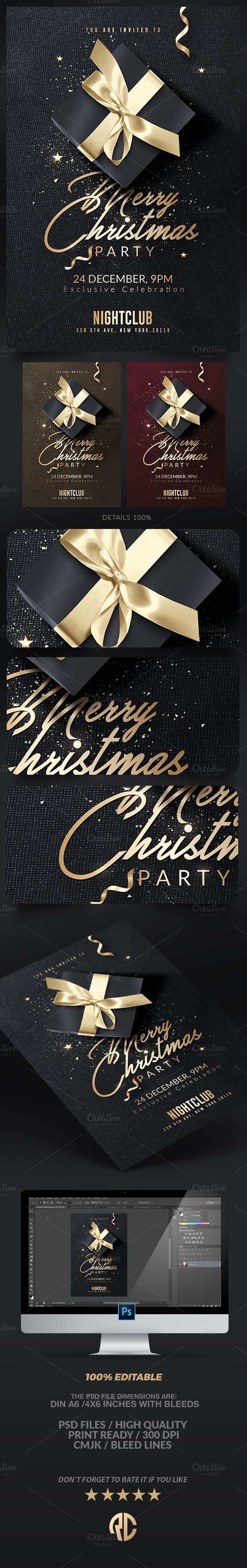 Classy Christmas Invitation | Flyer | Photoshop