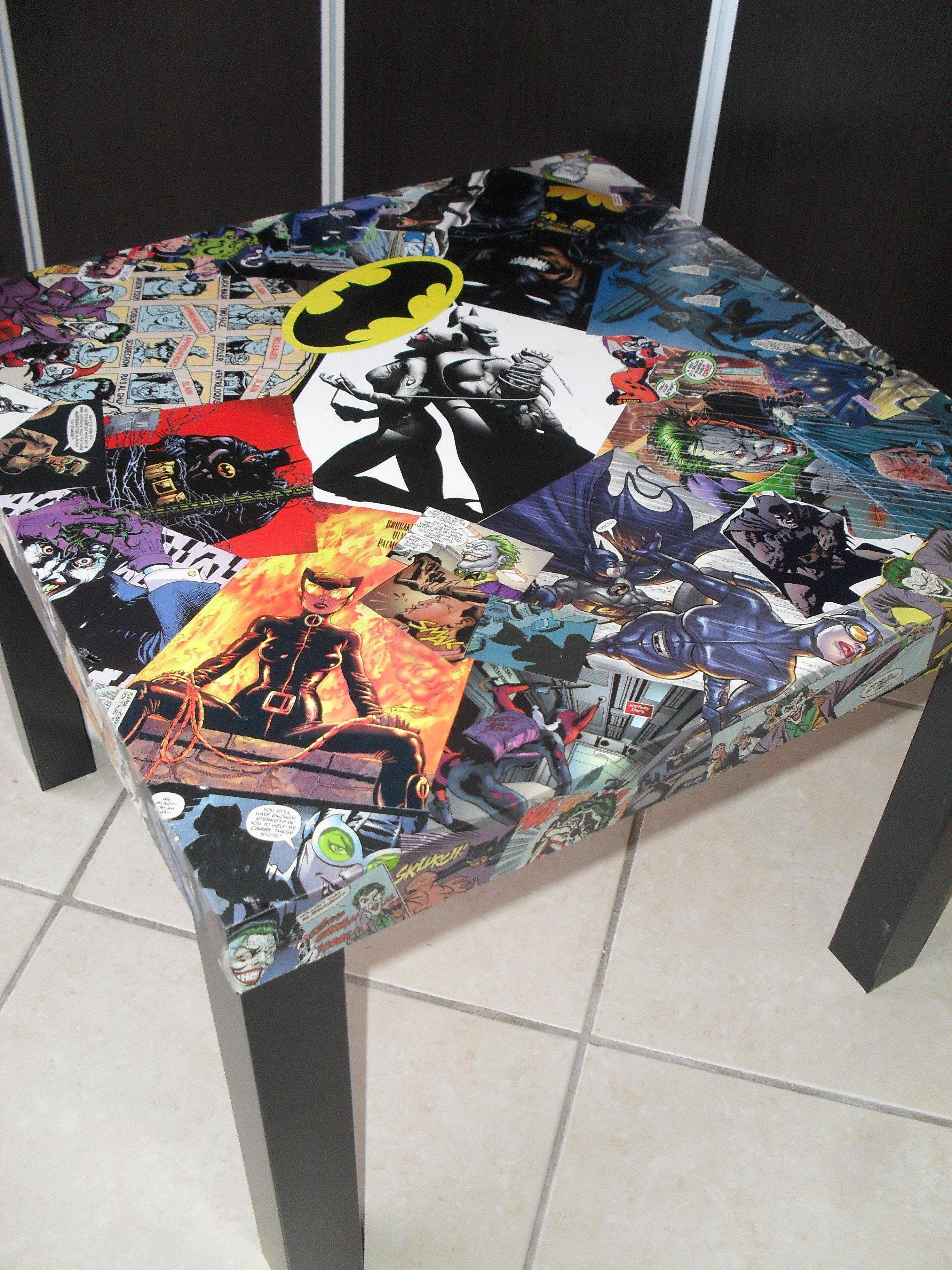 Batman Catwoman and Joker ic Collage Table Water Resistant