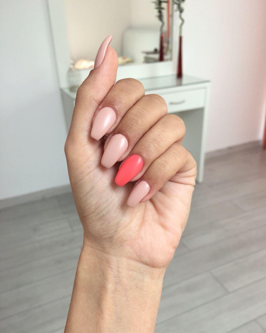 Matte nude mauve coral coffin ballerina nails Summer 2016 | Nails ...