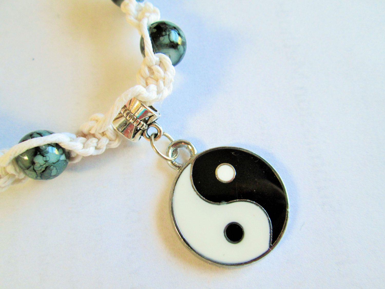 Yin yang pendant on handmade white or black hemp necklace with yin yang pendant on handmade white or black hemp necklace with black glass beads boho chic jewelry aloadofball Images