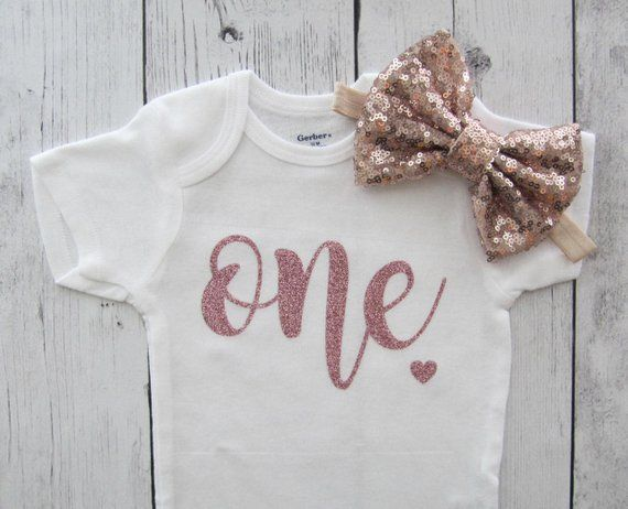 83a5df4040 Rose Gold Glitter One First Birthday Onesie - baby girl, rose gold ...