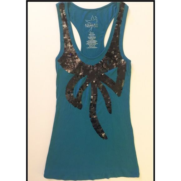 Chic Cerulean Sequined Racerback Tank Chic Cerulean Sequined Racerback Tank.  Ribbed with Square Black Overlapping Sequins.                                                      ⭐️Entire Closet is Buy One Get One Free⭐️ Maxazria Tops Tank Tops