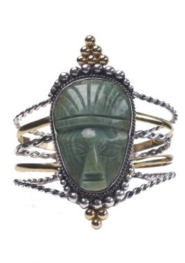 Pulseira de prata, ouro amarelo 18k e jade no formato de máscara mexicana, peça dos anos 1940 / Isabella Blanco