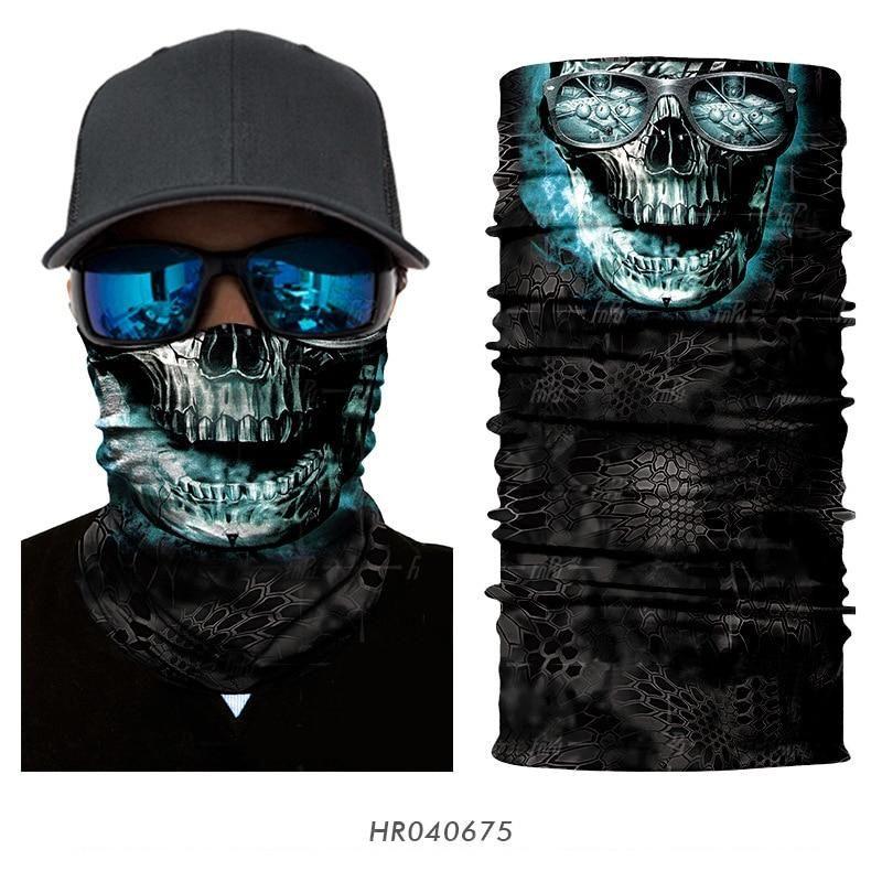 Biker Bandana Tube Scarf Face Cover Face Shield Neck Gaiter Camo Skull Sports
