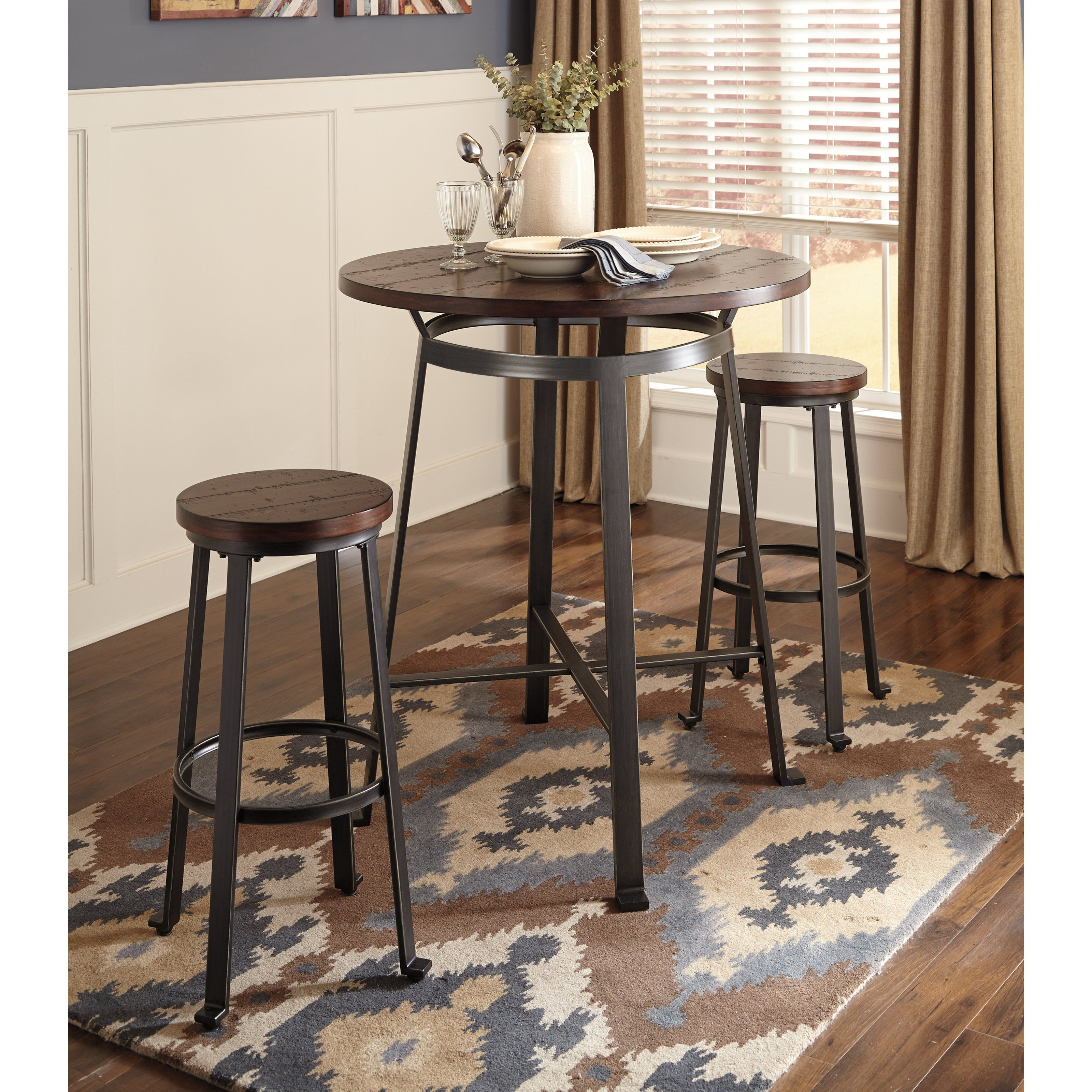 signature design by ashley challiman 3 pc pub table set from rh pinterest at