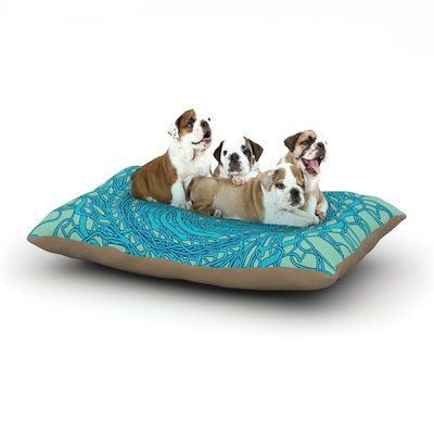 """East Urban Home Patternmuse 'Mandala Spin' Dog Pillow with Fleece Cozy Top Color: Mint/Green/Blue, Size: Large (50"""" W x 40"""" D x 8"""" H)"""