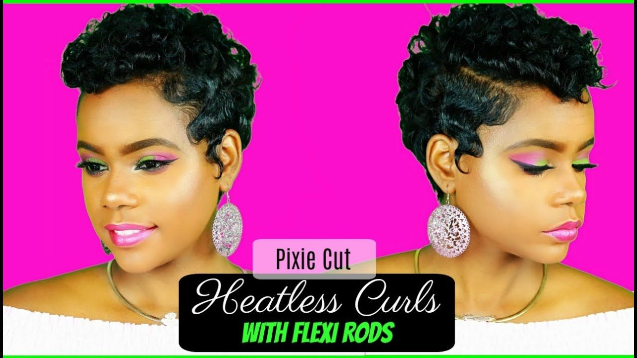 Heatless curls on relaxed short hair pixie cut flexi rods