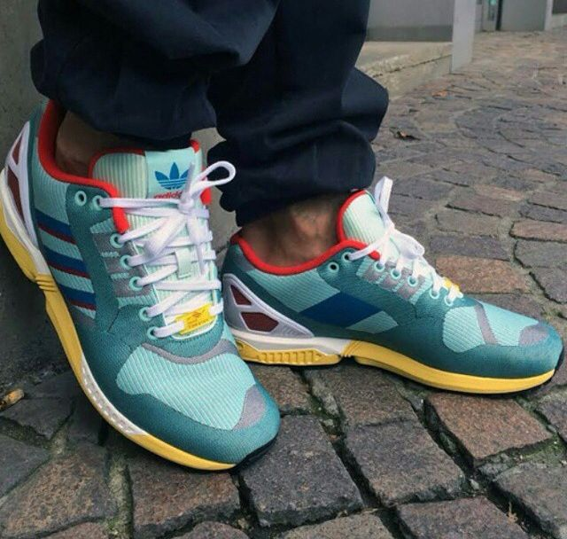 Adidas ZX Flux Weave hydra aqua turquoise red in 86150