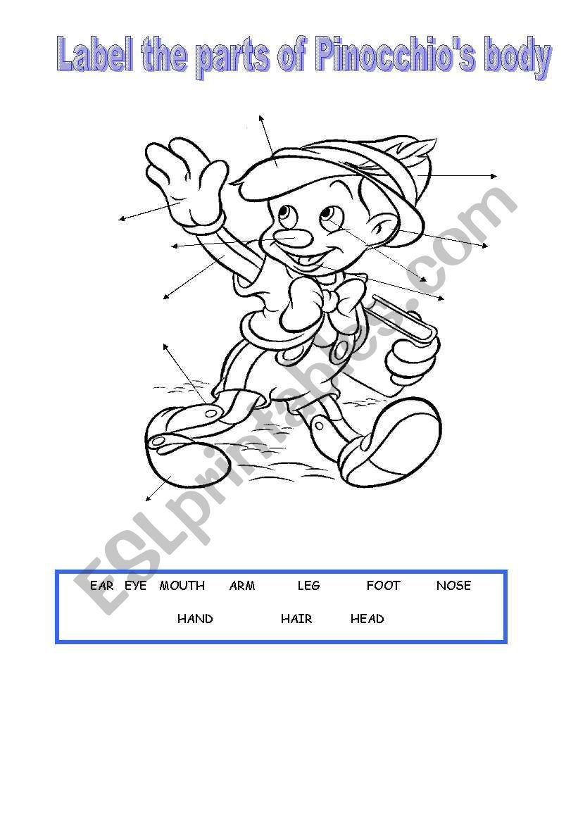 Label The Parts Of Pinocchio S Body Once Finished You Can Also Use The Worksheet To Do A Colour Dictati Pinocchio Reading Worksheets English Lessons For Kids [ 1169 x 821 Pixel ]
