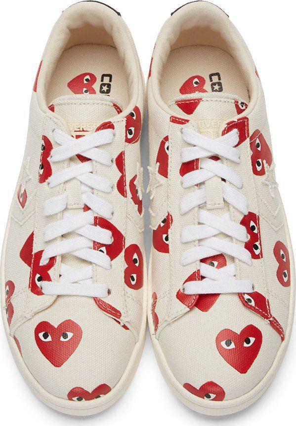 5801007373be Comme des Garcons Play Ivory Heart Print Converse Edition Sneakers ...