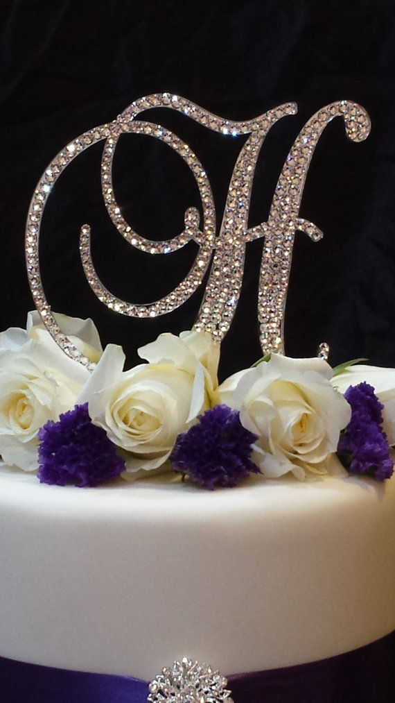 letter h swarovski crystal monogram cake topper by blingcaketoppers52 birthday cake toppers wedding cake toppers