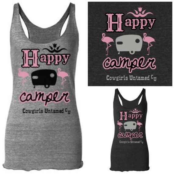 """TRAVELIN' COWGIRL """"Happy Camper"""" Pink Flamingo and Canned Ham Retro Trailer on Racerback Western Tank Top"""
