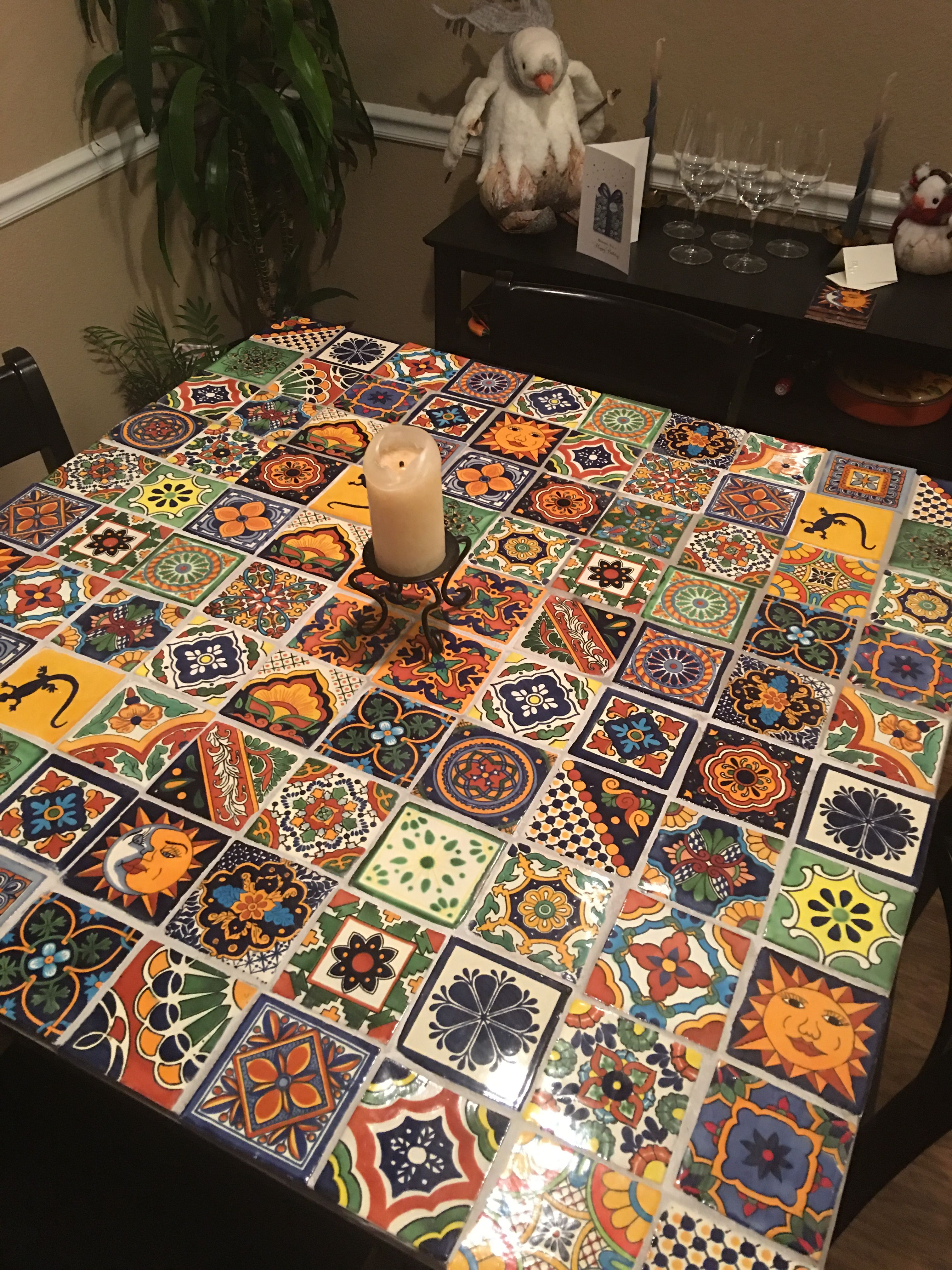 Finished Table Top Tiled Coffee Table Mexican Tile