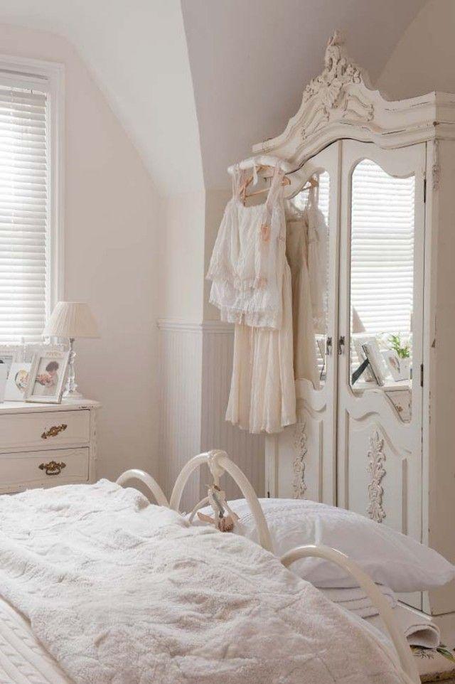 Shabby Chic Schlafzimmer Vintage Kleiderschrank Bett Metallrahmen ... Schlafzimmer Shabby Einrichten