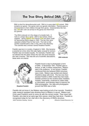DNA comprehension sheet Watson and Crick | Education ...