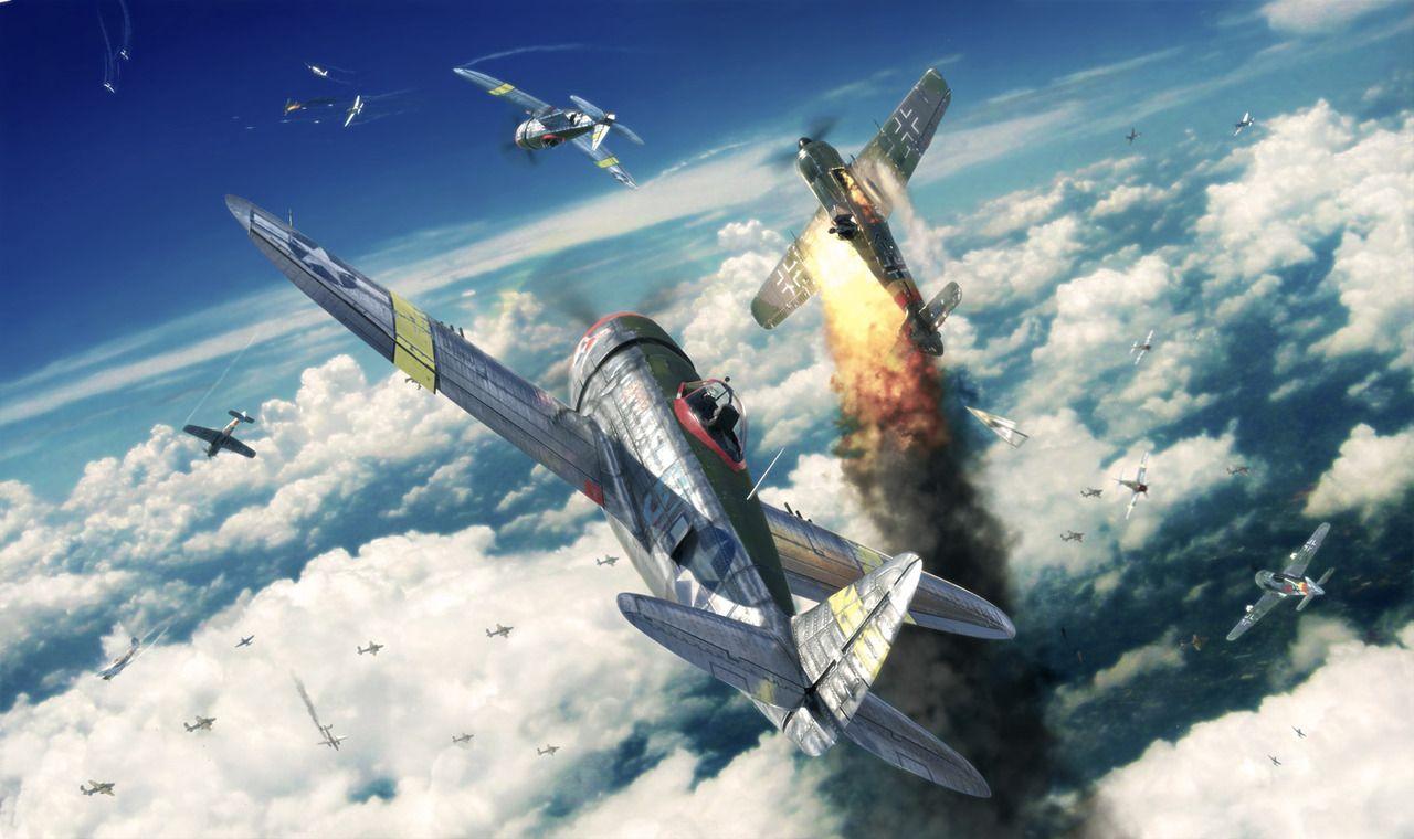 Обои war, painting, aviation, ww2, aircraft, air combat, P 47 thunderbolt, drawing, dogfight. Авиация foto 11