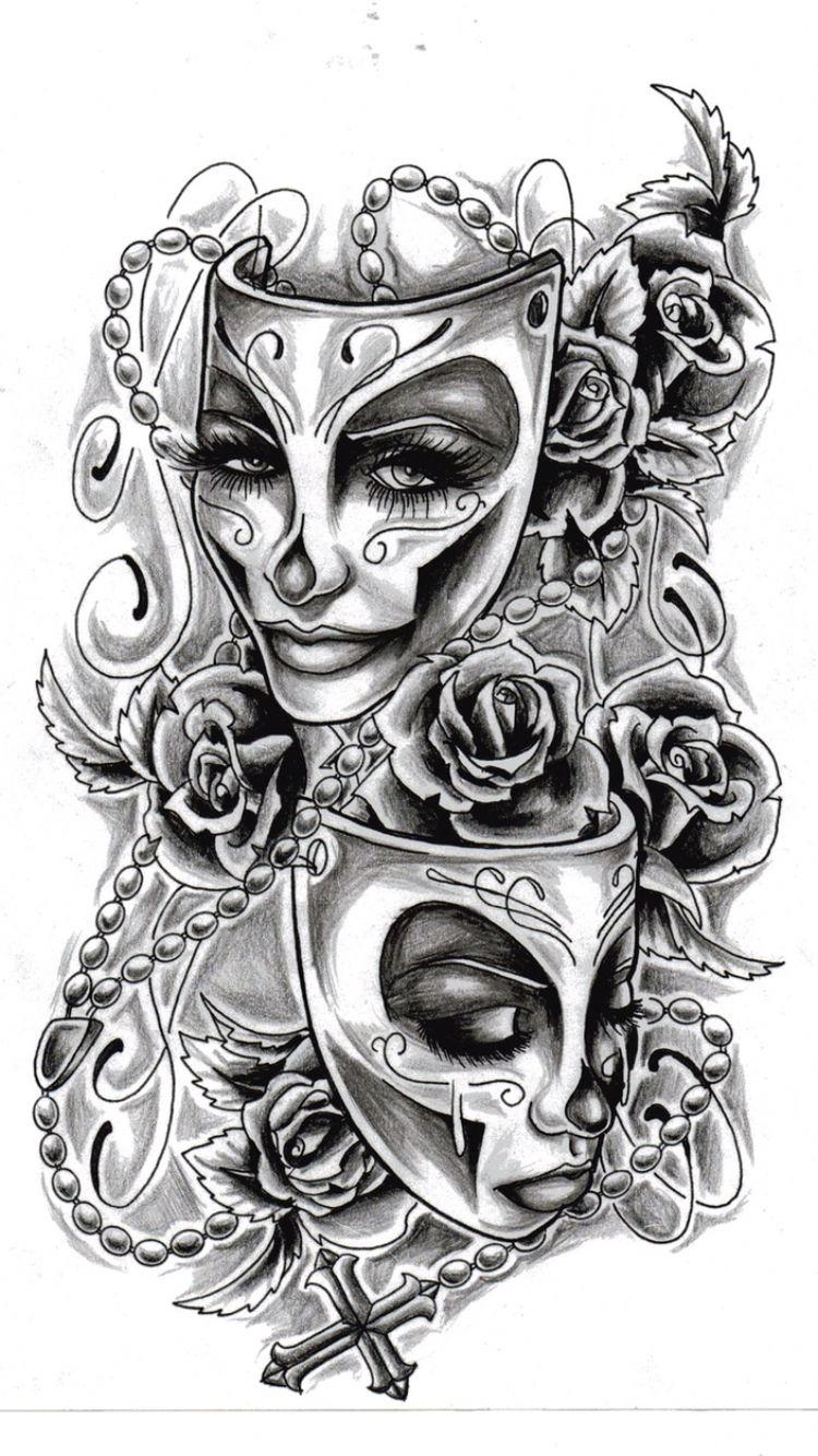 Happy and sad face masks happy and sad face tattoos - Sad And Happy