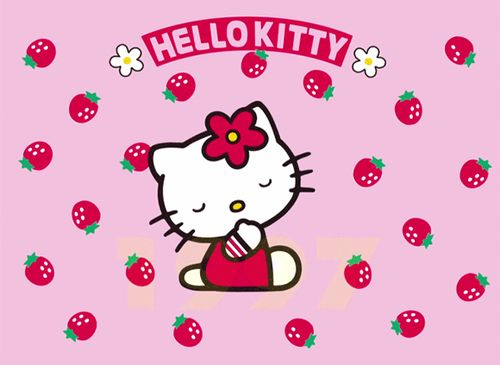 Hello Kitty Strawberries And Wallpaper Image Hello Kitty Hello Kitty Photos Hello Kitty Art