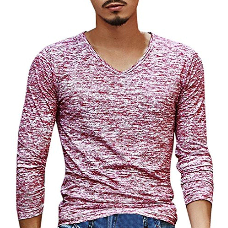 Big promotion V Neck Top Teresamoon Men Solid Color Long Sleeve