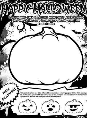 Augmented reality coloring pages ~ Halloween - Pumpkin Carving activity with 3D Augmented ...