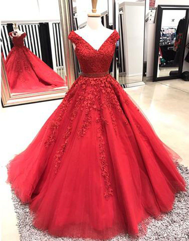Red tulle v neck long cap sleeve prom dress long appliqués evening