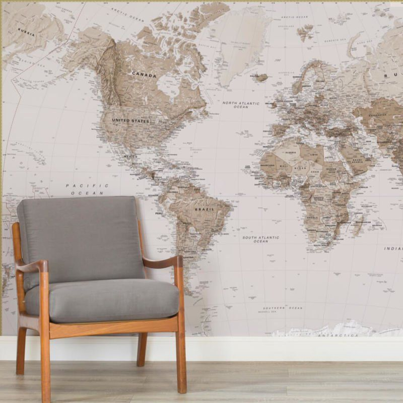 Earth Tone World Map Maps Square Wall Murals For The