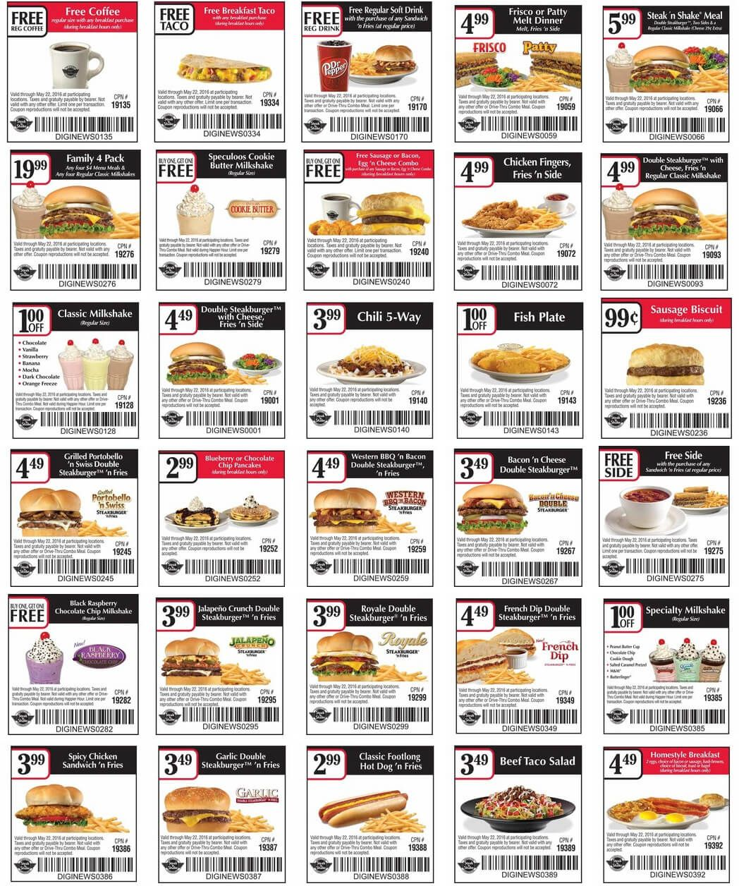 graphic regarding Steak and Shake Coupons Printable referred to as Pinned April 19th: Totally free espresso breakfast taco additional at