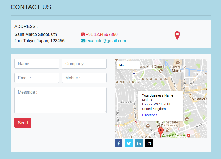 Bootstrap 4 Contact us Form With Map Page Design | NiceSnippets com
