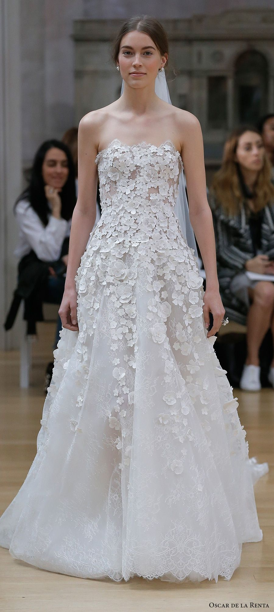 oscar de la renta spring 2018 bridal strapless straight across neckline heavily embellished bodice romantic a line wedding dress chapel train (161) mv -- Oscar de la Renta Spring 2018 Wedding Dresses #wedding #bridal #weddingdress