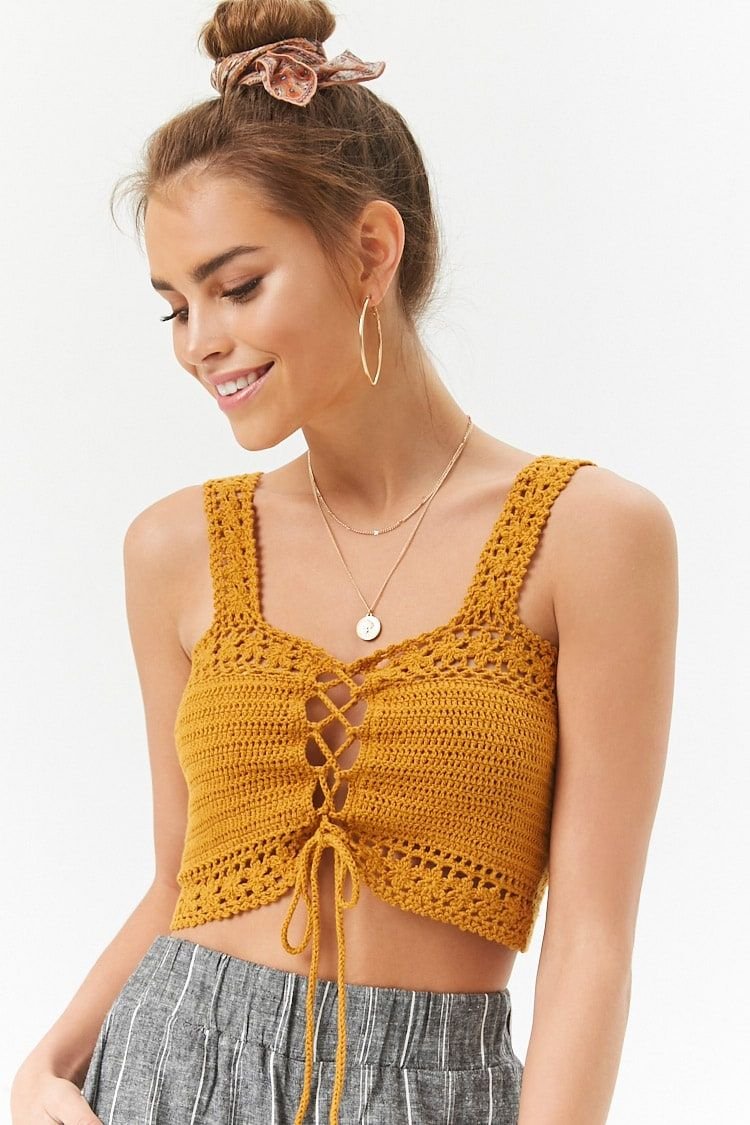 Crochet Lace Up Crop Top Crochet Crochet Lace Crochet Crochet