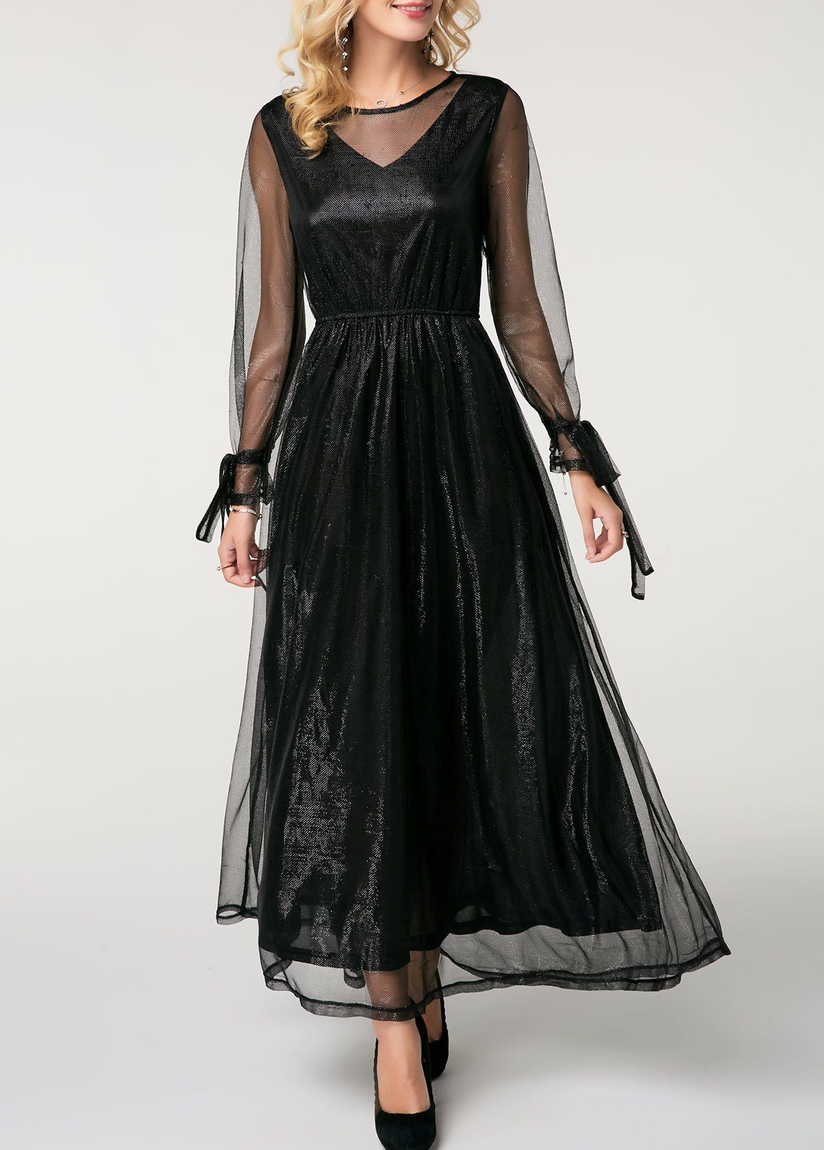 Black long sleeve mesh overlay maxi dress long sleeve